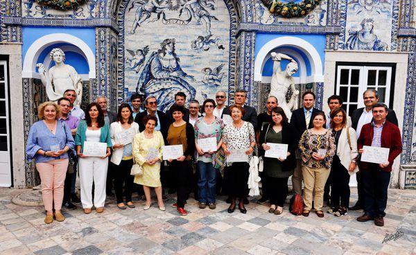 Premiados 'SOS Azulejo 2018' no final da cerimónia de entrega dos prémios, no Palácio Fronteira, a 23 de maio de 2019 (foto de Manuel Coutinho).
